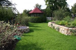 Rasenfläche im kleinen Garten