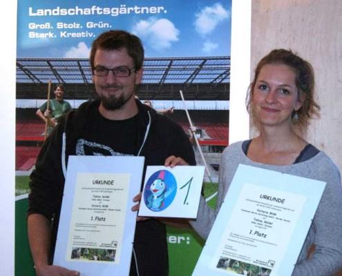 Viktoria Wölk und Tobias Seidel als Gewinner des Lehrbaustellenwettbewerb BUGA 2015