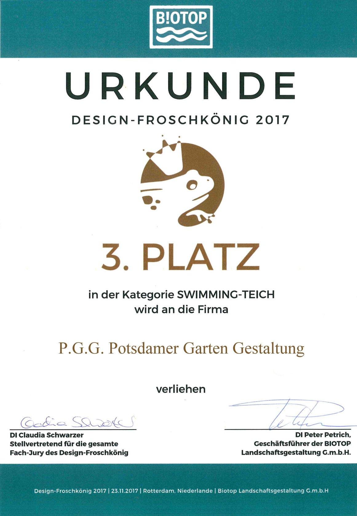 Potsdamer Garten Gestaltung Auszeichnung Design Froschkönig